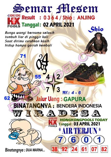 Syair HK Semar Mesem Sabtu 03 April 2021