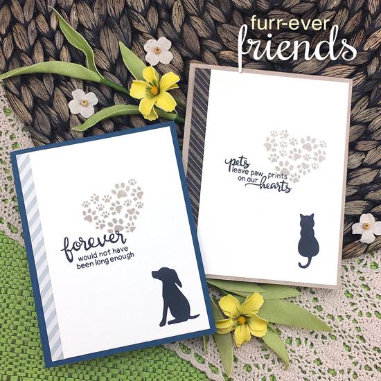 Dog and Cat Sympathy cards by Jennifer Jackson | Furr-ever Friends | Dog and Cat Sympathy Stamp Set by Newton's Nook Designs #newtonsnook