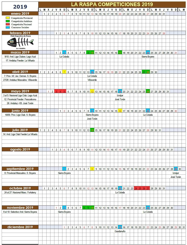 Calendario De Pesca.Club Deportivo De Pesca La Raspa Cordoba Calendario Competicones 2019