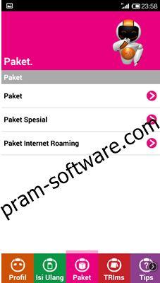 Screenshot rekomendasi paket di BimaTri