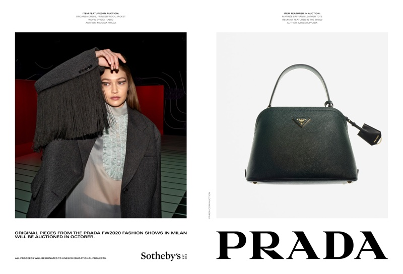 Gigi Hadid stars in Prada fall-winter 2020 campaign.