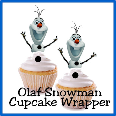 "It's so easy to build a snowman with these easy cupcake toppers.  Simply print and cut out Olaf the Snowman's upper bottom, frost a white cupcake, and add a black M&M for a yummy snowman treat that won't do ""what frozen water does in summer."""