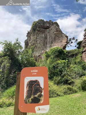 Arenito com formato de leão no Parque Estadual Vila Velha