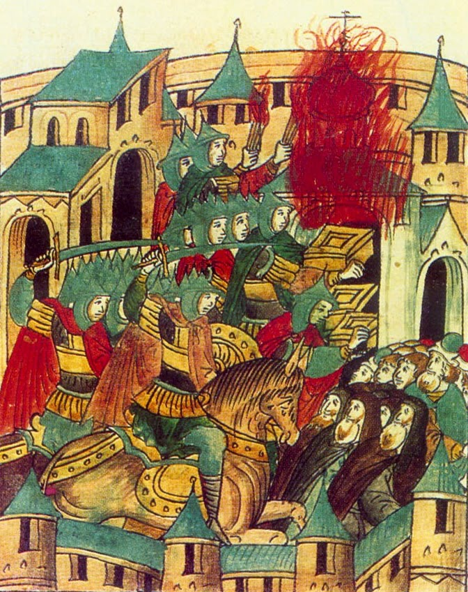 In the winter of 1237–38 Batu Khan and his army sacking Suzdal
