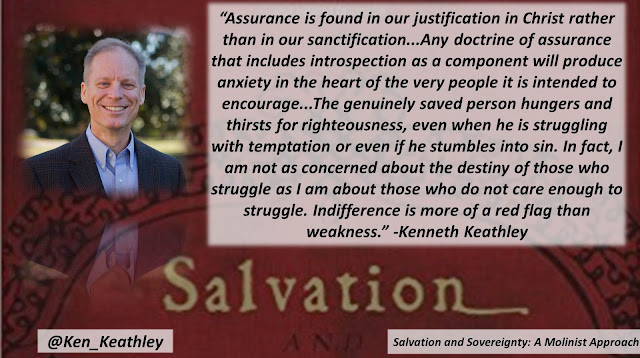"Quote from ""Salvation and Sovereignty: A Molinist Approach"" by Dr. Kenneth Keathley- ""Assurance is found in our justification in Christ rather than in our sanctification...Any doctrine of assurance that includes introspection as a component will produce anxiety in the heart of the very people it is intended to encourage ...The genuinely saved person hungers and thirsts for righteousness, even when he is struggling with temptation or even if he stumbles into sin. In fact, I am not as concerned about the destiny of those who struggle as I am about those who do not care enough to struggle. Indifference is more of a red flag than weakness."" #salvation #soteriology #God #Christianity #theology"