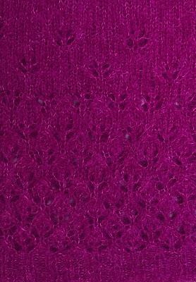 Closeup of lace pattern of purple alpaca silk sweater