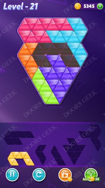 Block! Triangle Puzzle Intermediate Level 21 Solution, Cheats, Walkthrough for Android, iPhone, iPad and iPod