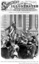Woodcut, 4 Oct. 1873 – Frank Leslie's Illustrated Newspaper, Vol. 37, No. 940, p. 66; 'The Great Financial Panic of 1873 – Closing the door of the Stock Exchange on its members,' retrieved 2021 from The Library of Congress.