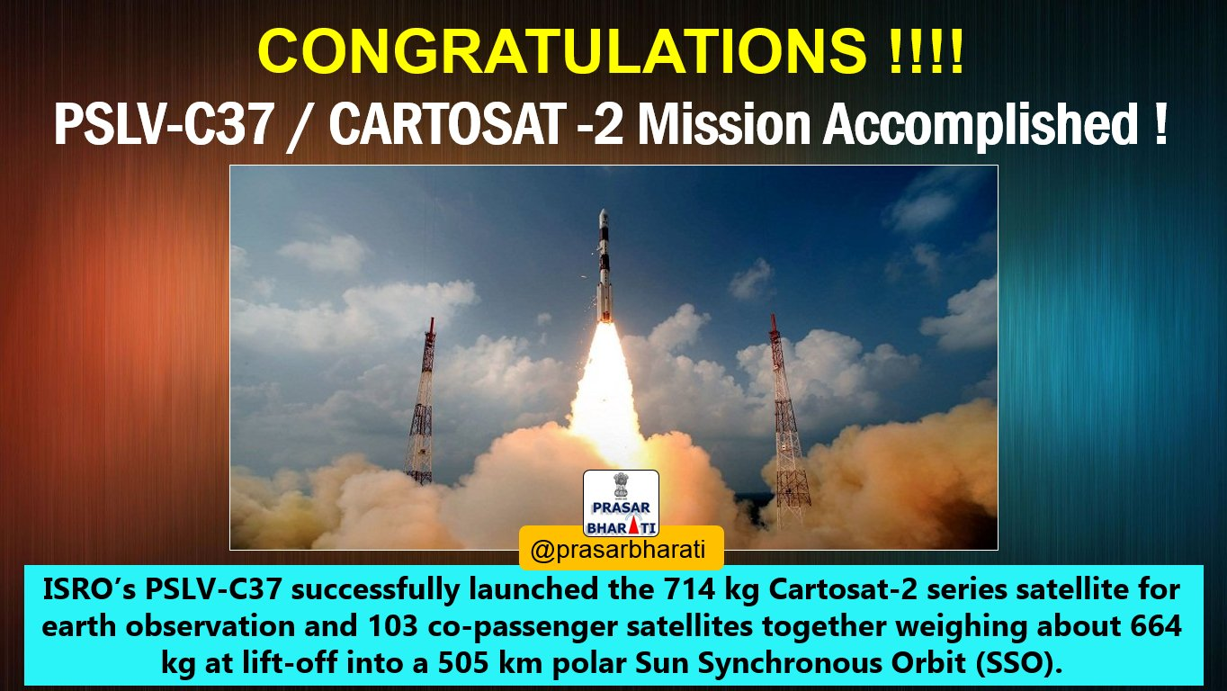 ISRO's PSLV C37 successfully launched record 104 satellites