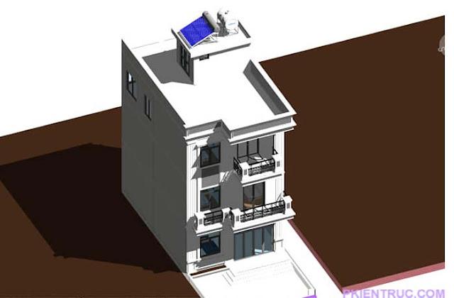 mẫu nhà revit 7x 10 mét với quy mô 3 tầng 1 tum