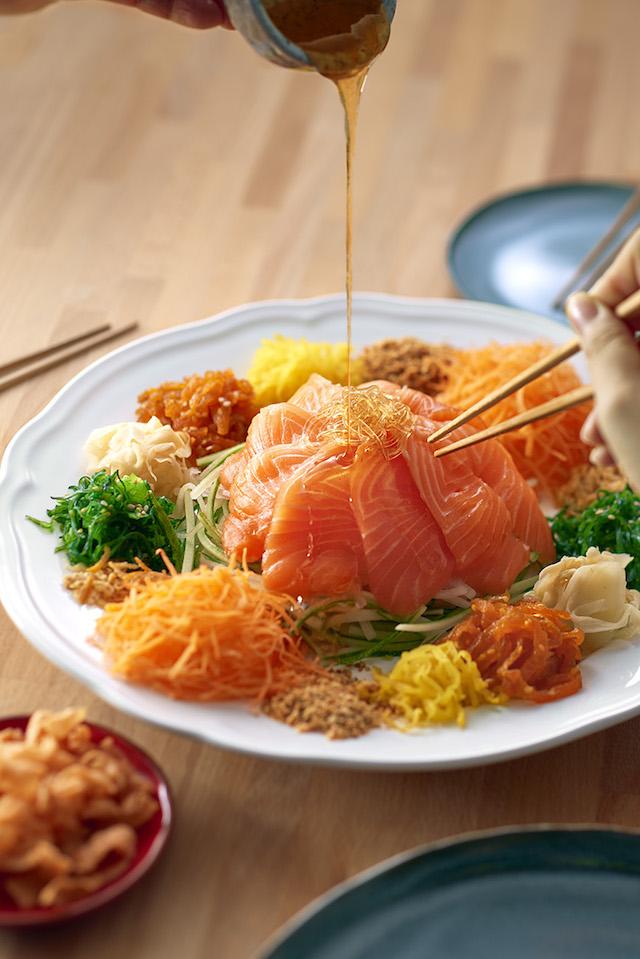 Sakae Sushi's Fortune Salmon Yee Sang.