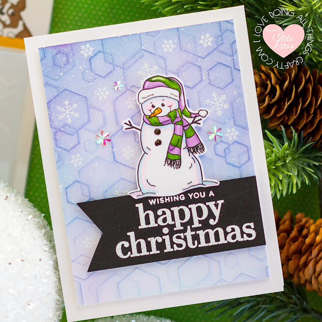 Happy Christmas Card,Simon Says Stamp,Holly Jolly Release,Winter Hugs, Tumbled Hexagons Embossing Folder,Card Making,Stamping,handmade card,ilovedoingallthingscrafty, Stamps,Atelier Inks,