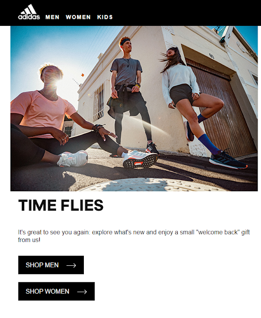 Welcome Back email from Adidas