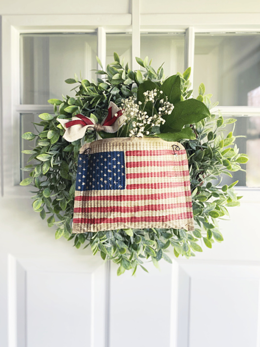 flag pouch on wreath for front door