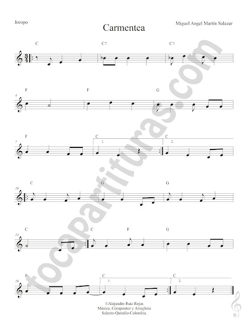 Carmentea Joropo de Miguel Ángel Martin Salazar Partitura Fácil con Acordes Carmentea Sheet Music with Chords