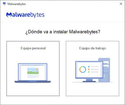 Tipo de computadora a instalar Malwarebytes