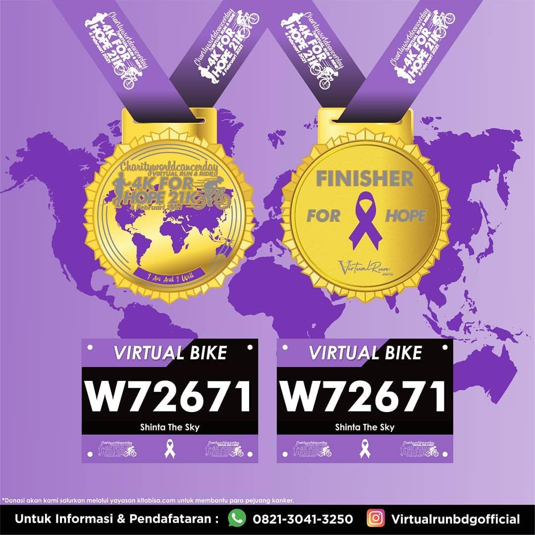 Medali � Charity World Cancer Day - Virtual Run & Bike for HOPE • 2021