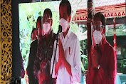 Presiden Jokowi Pantau Secara Virtual  Vaksinasi Massal Di Gedung Kesenian I Ketut Maria Tabanan