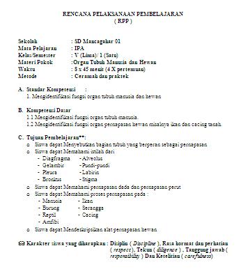 RPP Berkarakter SD Kelas 5 Semester 1 dan 2