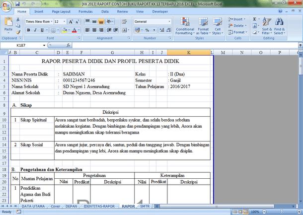 Aplikasi Buku Raport SD Kurikulum 2013 Format Microsoft Excel