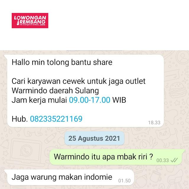 Lowongan Kerja Karyawati Outlet Warmindo Sulang Rembang