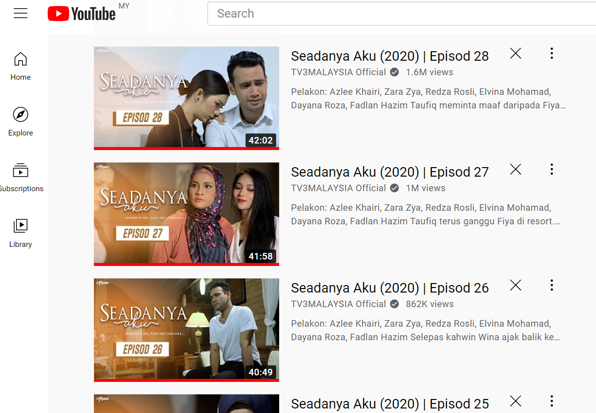 Wordless Wednesday : Layan Drama Melayu Online dekat Youtube