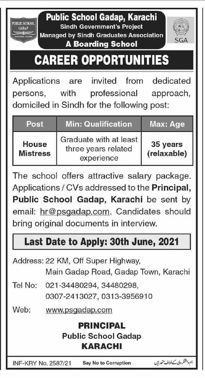 Public School Gadap Karachi Sindh Graduates Association SGA Jobs 2021