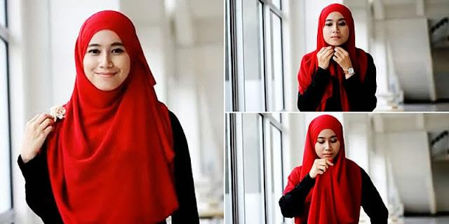 Cara Pake Hijab Segi Empat Simpel