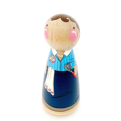 Julia Child wooden peg doll by Peg and Plum.
