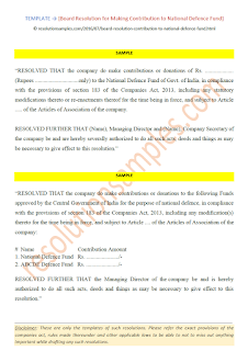 board resolution for making contribution to national defence fund under section 183