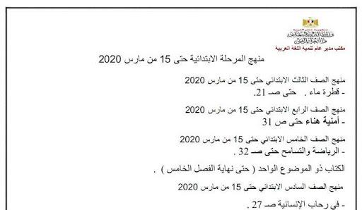 وزارة التربية والتعليم تنشر مقررات الفصل الدراسى الثانى 2020 لجميع الصفوف والمواد