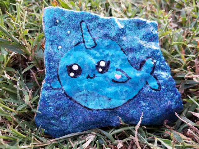 Chubby Narwhal Painted Rock  Artist credit: Robin Davidson from Raytown Rocks
