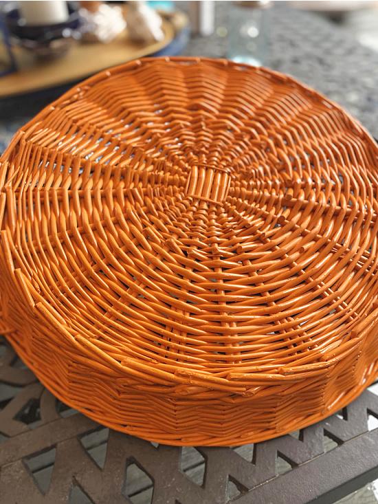 orange spray painted basket