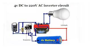4v DC to 220V AC inverter circuit