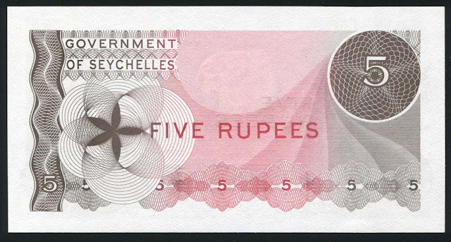 Seychelles money images five Rupees note
