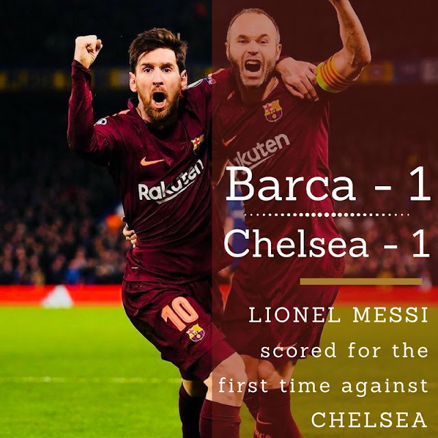 Lionel Messi scored for the first time against Chelsea to secure a 1-1- draw for Barca in the first Leg tie in UEFA Champions League 2017-18