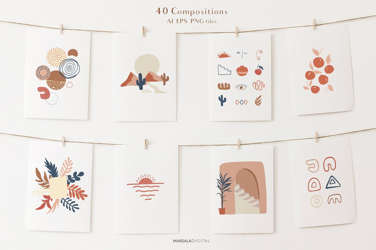 Abstract Prints Shapes Graphics Vol.2 (PNG, EPS, AI)