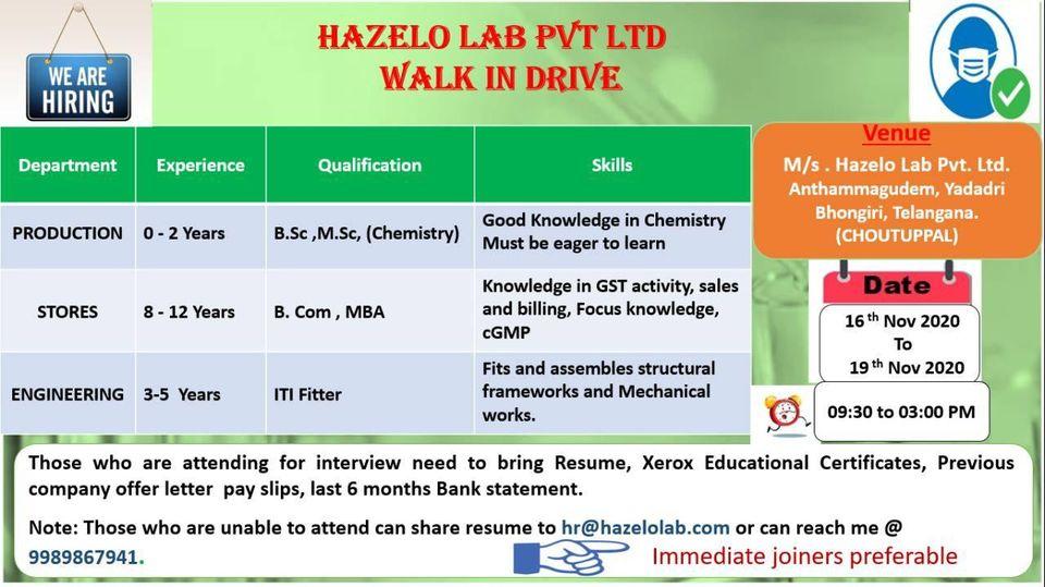 ITI Fitter and B.Sc ,M.Sc, B. com , MBA  Jobs Vacancy Walk In Interview Drive For Hazelo Lab Pvt Ltd