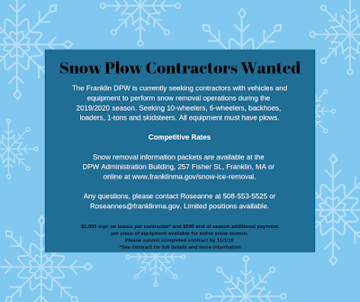 Snow Plow Contractors Wanted for Franklin, MA