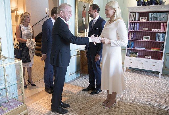 Crown Princess Mette-Marit wore Valentino Virgin Wool And Silk-Blend Midi Dress and she wore Malone Souliers Brenda Stripe Pumps