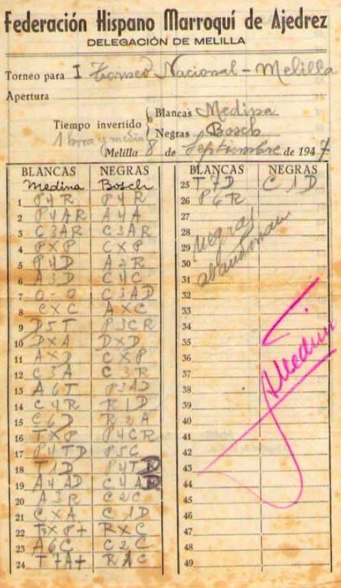 Planilla de la partida de ajedrez Medina - Bosch, I Torneo Nacional de Melilla 1947