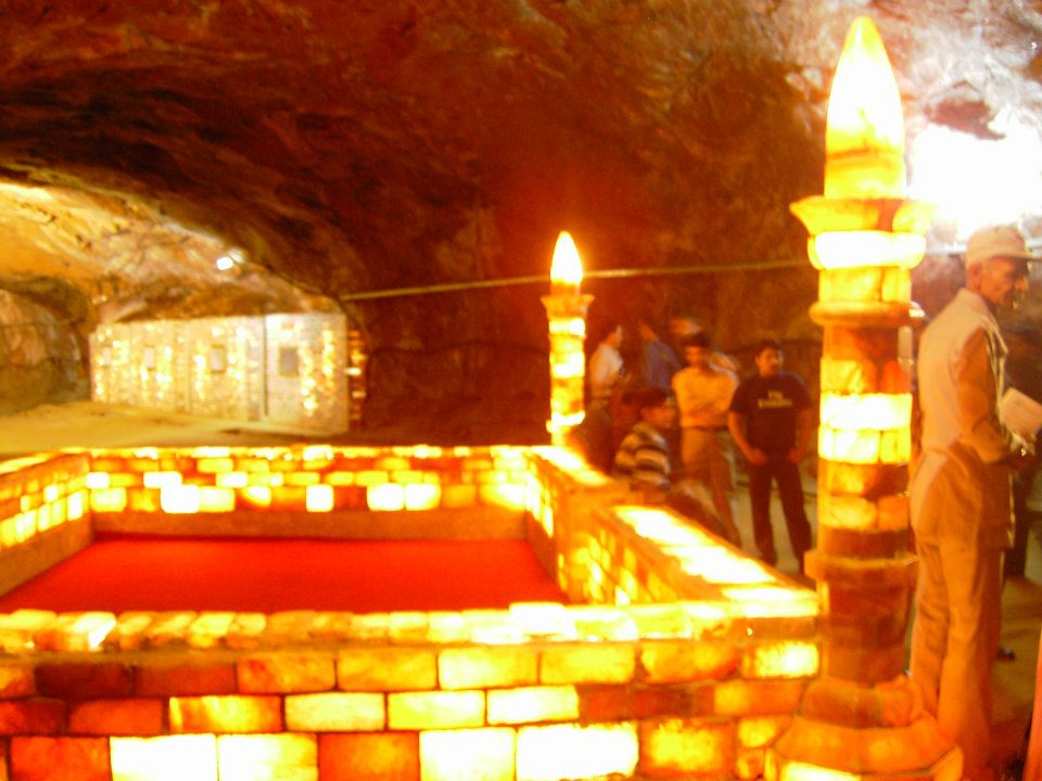 Illuminated (Salt Mosque) inside the visitors' area of Khewra Salt Mines, Pakistan 3
