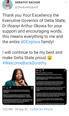 Governor Okowa of Delta State Congratulates BBNAIJA Dorathy and Neo
