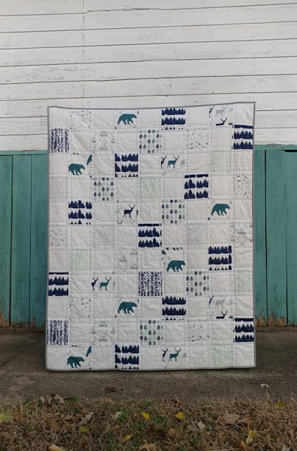 Woodland navy, aqua, gray baby quilt
