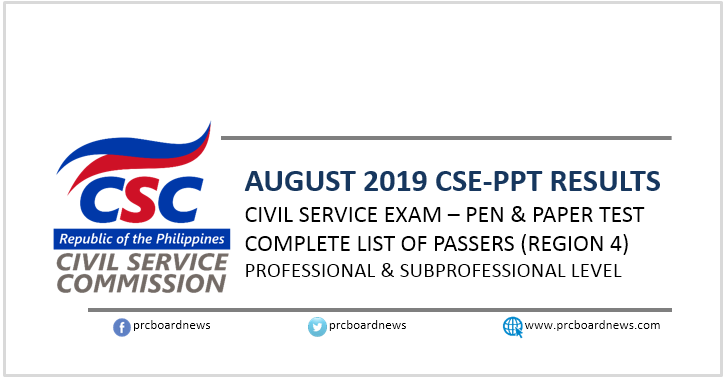 Region 4 PASSERS: August 2019 Civil service exam CSE-PPT result