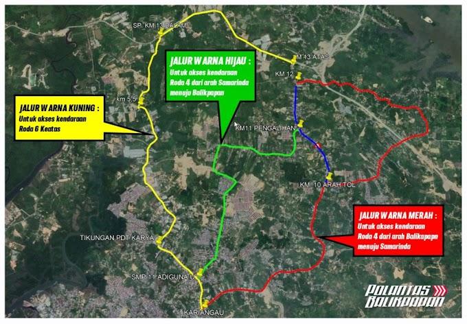 Jalur Km 11 Balikpapan-Samarinda Ditutup, Ini Jalur Alternatifnya
