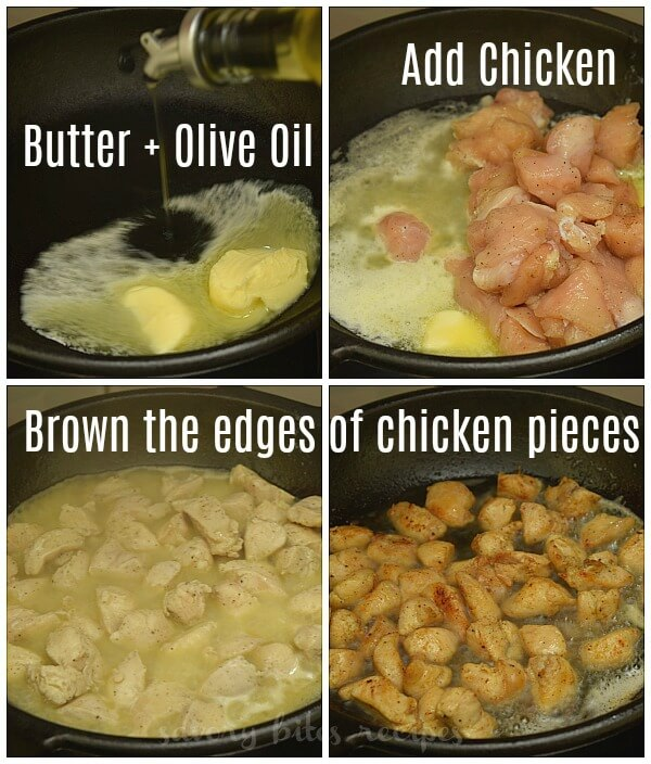 how to make honey butter chicken - in a pan add butter,olive oil,chicken