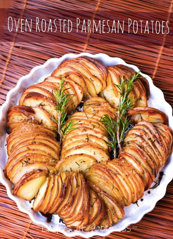 Easy Oven Roasted Parmesan Potatoes from Layers of Happiness