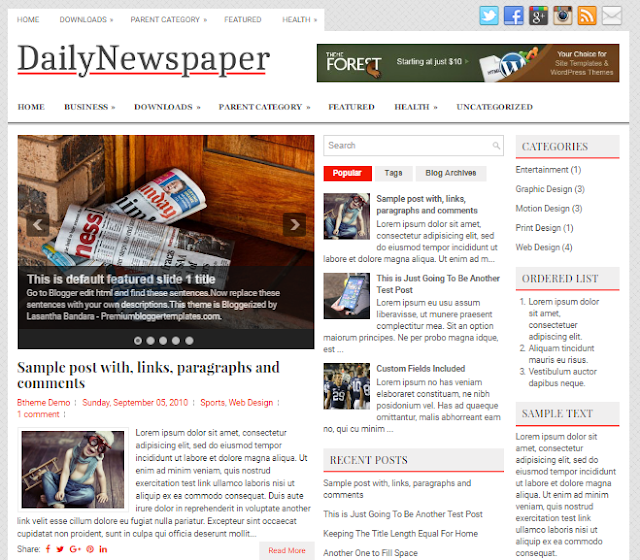 DailyNewspaper blogger template