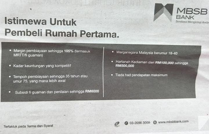 Skim Pembiayaan/Pinjaman Rumah Pertama MBSB Bank Sehingga 105 Peratus